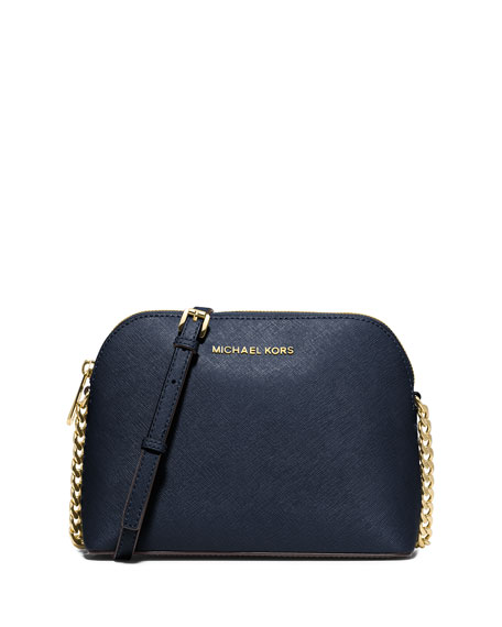 Cindy Large Dome Saffiano Crossbody Bag, Navy