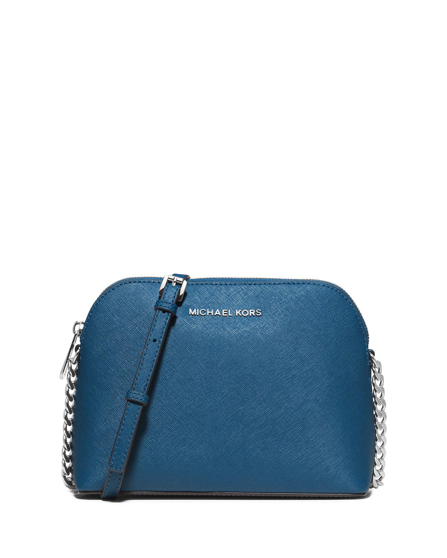 f7cea6a47e8d MICHAEL Michael Kors Cindy Large Dome Saffiano Crossbody Bag, Steel Blue