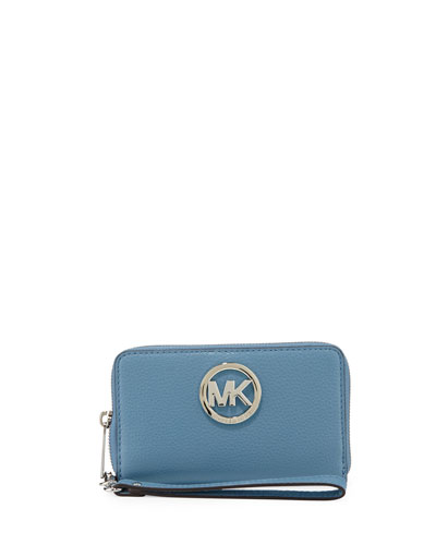 Fulton Large Flat Multifunction Phone Wallet, Sky
