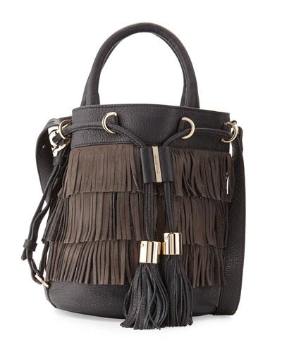Vicki Fringe Bucket Bag, Graphite