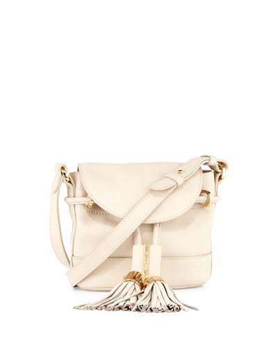 Vicki Mini Leather Crossbody Bag, Milk