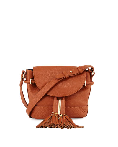 Vicki Mini Leather Crossbody Bag, Suntan