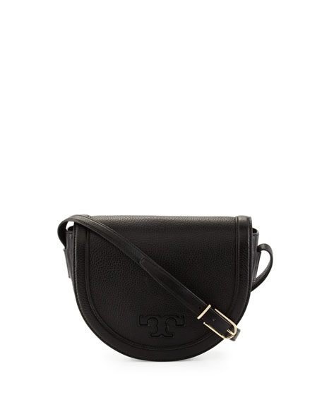 Tory Burch Serif-T Leather Saddle Bag, Black