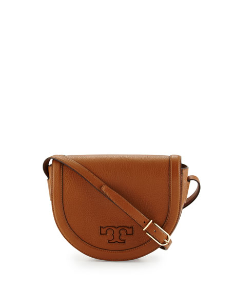 Tory Burch Serif-T Leather Saddle Bag, Bark