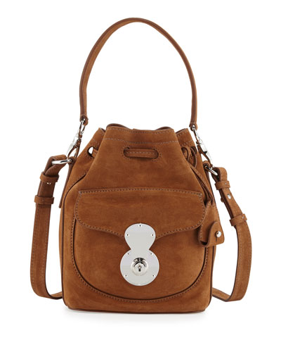 Ricky Small Suede Bucket Bag, Caramel