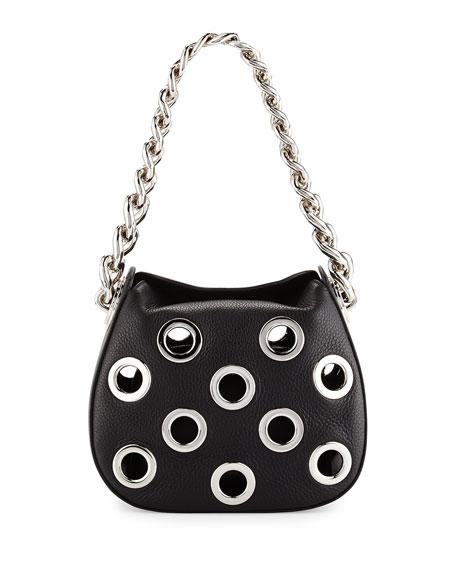 Prada Vitello Daino Small Perforated Chain Hobo Bag, Black (Nero)