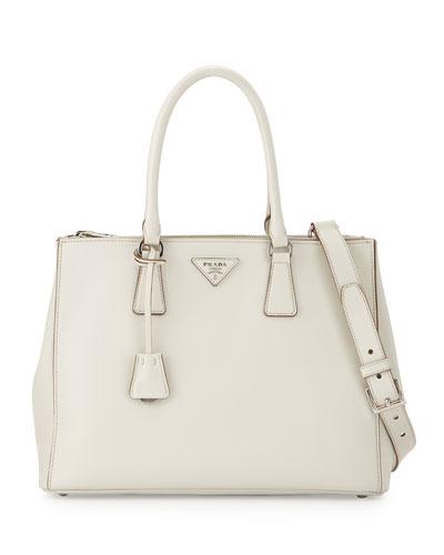 PRADA City Calfskin Bicolor Double-Zip Galleria Tote Bag, White ... - prada galleria bag bright yellow 1