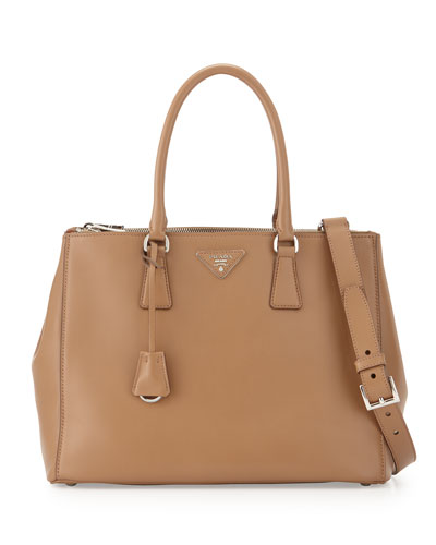 City Calfskin Bicolor Double-Zip Galleria Tote Bag, Caramel/Orange (Caramel+Papaya)