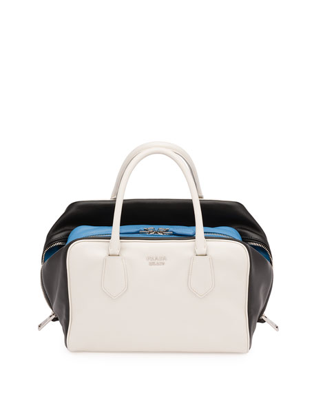 Prada Soft Calf Medium Tricolor Inside Bag, White/Black/Light