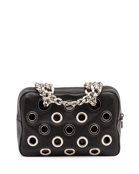 Prada Vitello Daino Perforated Chain Shoulder Bag, Black (Nero)