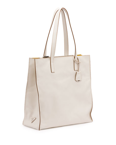 prada nylon wallets women - Prada Soft Calfskin North-South Tote Bag, White/Yellow (Talco/Mimosa)