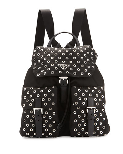 Tessuto Grommet Backpack, Black (Nero)