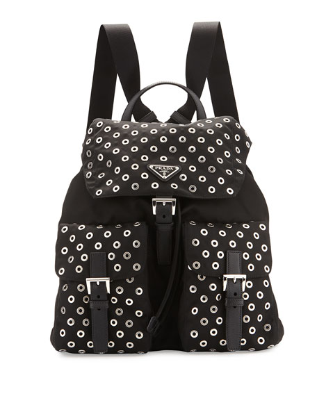 Prada Tessuto Grommet Backpack, Black (Nero)