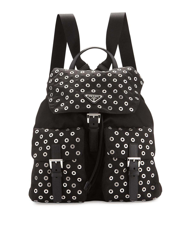 5c45e824e30cb2 Prada Tessuto Grommet Backpack, Black (Nero) | Neiman Marcus