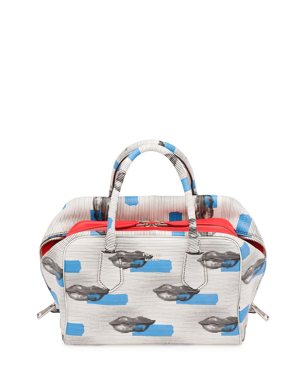 7b83e4952c33 Prada Daino St. Lips Inside Bag, White/Blue (Bianco+Azzuro) | Neiman ...