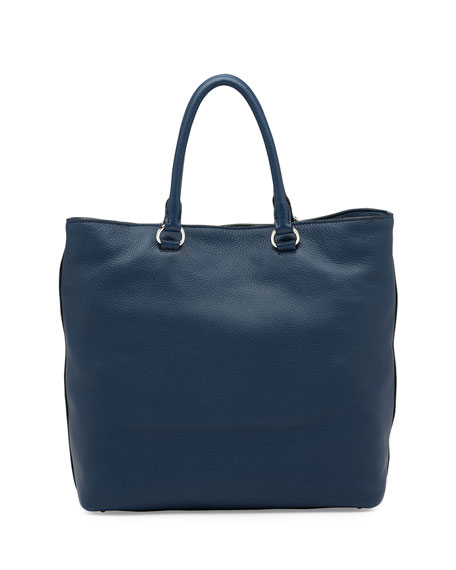 Vitello Daino North-South Tote Bag, Dark Blue (Baltico)