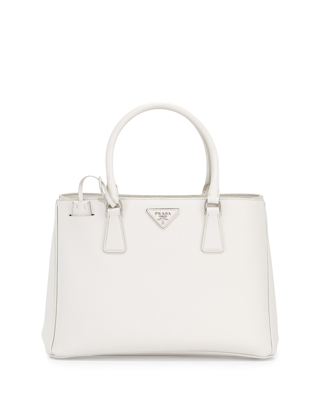 b43a156697c2 Prada Saffiano Lux Small Gardener's Tote Bag, White (Talco) | Neiman ...