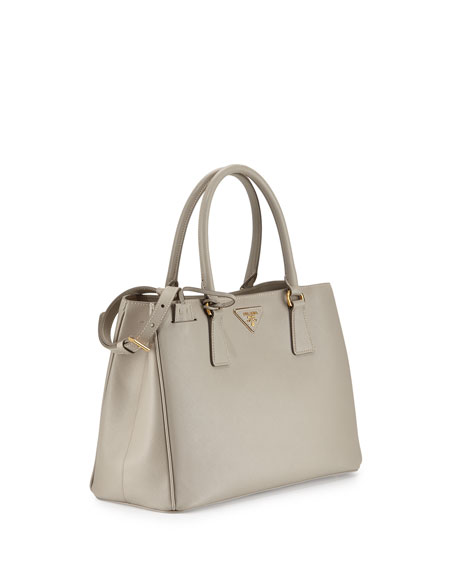 Prada Saffiano Small Gardener's Tote Bag, Light Gray (Pomice)