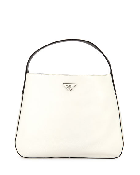Prada Vitello Daino Medium Bicolor Wide-Strap Hobo Bag, White/Black/Yellow ...