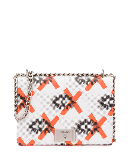 Prada Daino St. Eyes Shoulder Bag, White/Red (Bianco+Arancio) - prada shoulder bag black + white + red