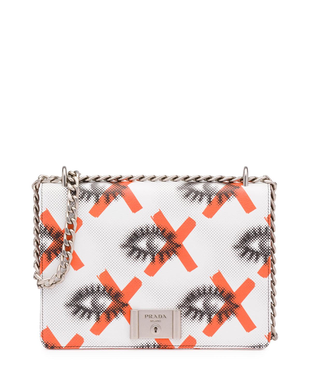 bbd39382c57e Prada Daino St. Eyes Shoulder Bag, White/Red (Bianco+Arancio ...