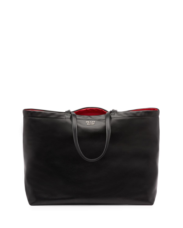 805e08850737d6 Prada Soft Calf Reversible East-West Tote Bag, Black/Red (Nero+Fuoco ...
