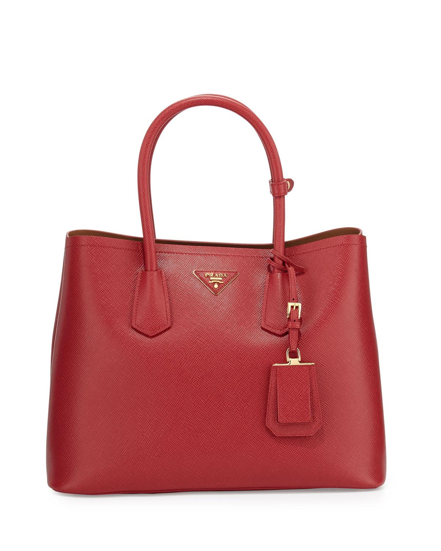 579fc57bd6fa Prada Saffiano Cuir Double Medium Tote Bag