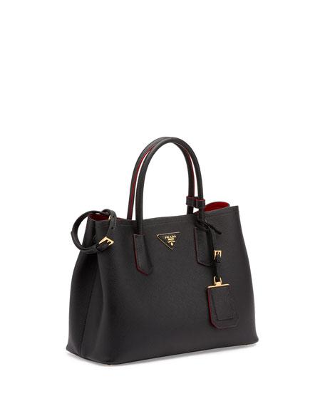 Saffiano Cuir Double Medium Tote Bag, Black/Red (Nero+Fuoco)