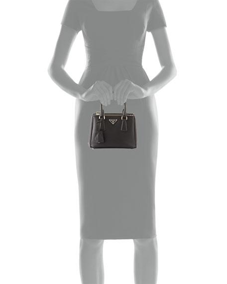 Prada Saffiano Lux Micro Tote Bag w/Shoulder Strap, Black (Nero)