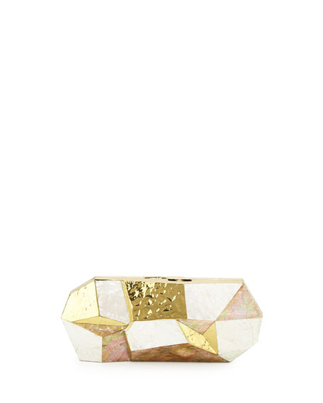 Maryanne Faceted Minaudiere, White/Gold