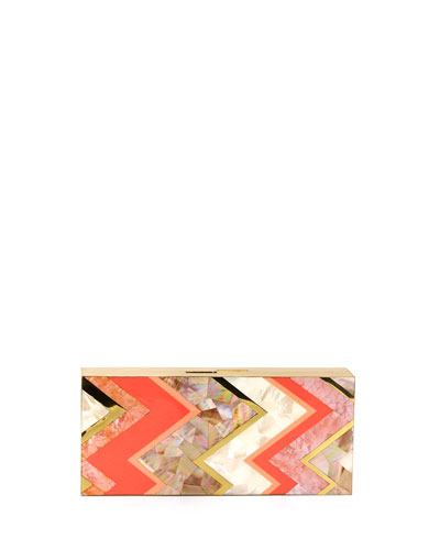 Natalie Rectangle Shell Minaudiere, Coral/Multi
