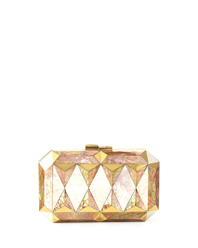 Sara Faceted Shell Minaudiere, White/Gold