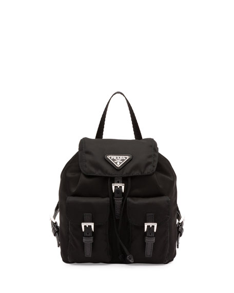 Prada Vela Mini Crossbody Backpack Bag, Black (Nero)