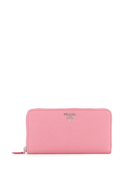 Prada Saffiano Leather Oro Zip-Around Wallet, Pink (Begonia)