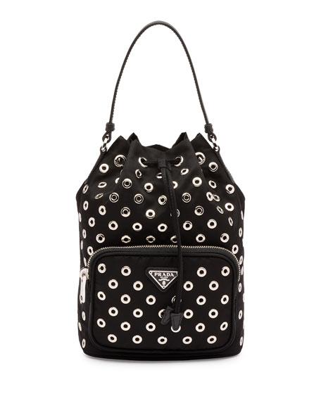 prada wristlet price - Prada Tessuto Mini Leopard-Print Bucket Bag, Tan (Leopardo)