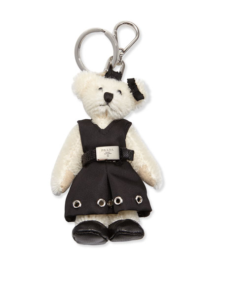 Prada Marlene Teddy Bear Charm for Handbag, White/Black