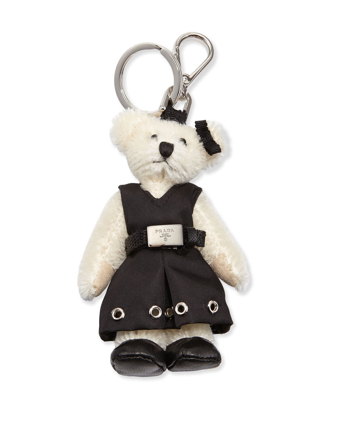 d1a7c90d84fc97 Prada Marlene Teddy Bear Charm for Handbag, White/Black (Bianco/Nero ...