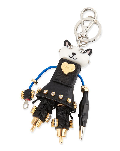 Katy Cat Robot Charm for Handbag, Black (Nero)