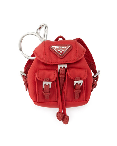 Prada Vela Backpack-Shaped Handbag Charm/Keychain, Red (Rosso)