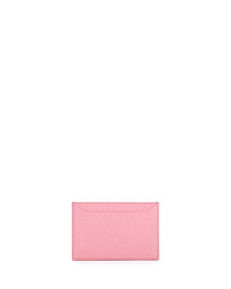 Saffiano Metal Oro Card Case, Pink (Begonia)