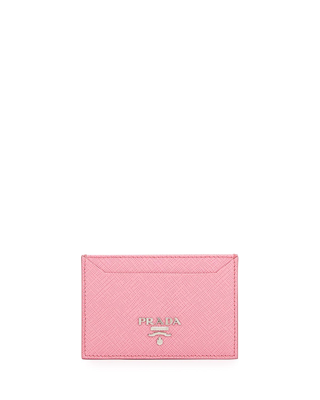 2244969ecef105 Prada Saffiano Metal Oro Card Case, Pink (Begonia)   Neiman Marcus