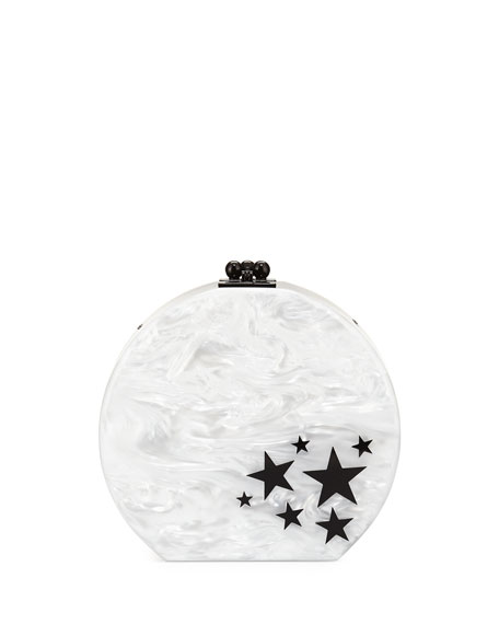 Edie Parker Oscar Star Cluster Clutch Bag, White/Black