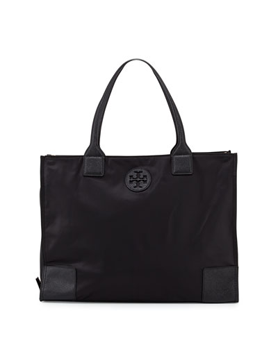 Ella Packable Nylon Tote Bag, Black