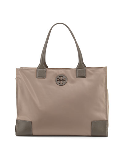 Ella Packable Nylon Tote Bag, French Gray