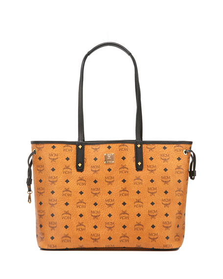 MCM Project Visetos Reversible Shopper Bag, Cognac