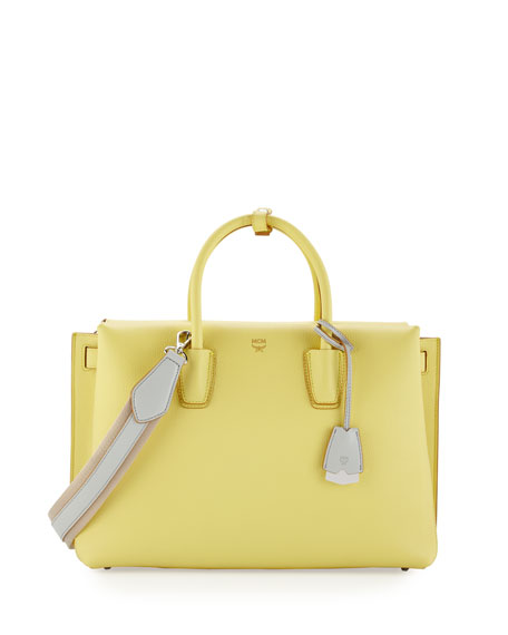 MCM Milla Large Leather Tote Bag, Custard Yellow
