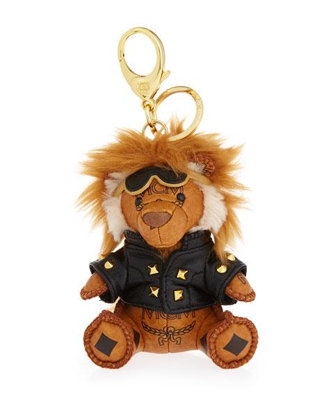 MCM Visetos Moto Lion Key Ring/Bag Charm, Cognac