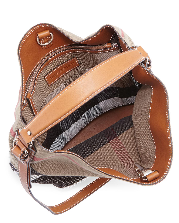 8fd755170 Burberry Ashby Medium Canvas/Calfskin Hobo Bag, Saddle Brown   Neiman Marcus