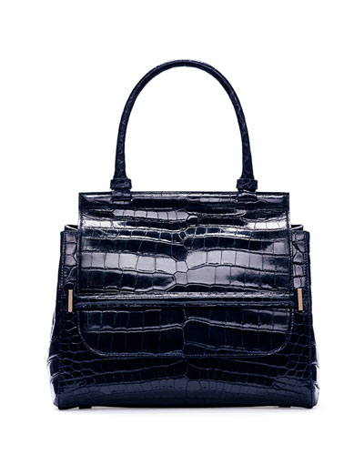 Top-Handle 10 Crocodile Bag, Navy
