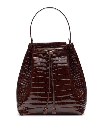 Bucket 9 Crocodile Bombe Bag, Cognac